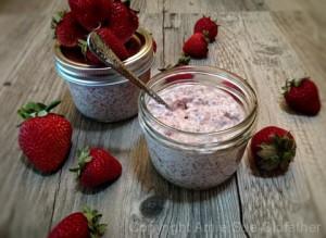 raw vegan recipe Strawberry Rubarb Coconut Chia Pudding