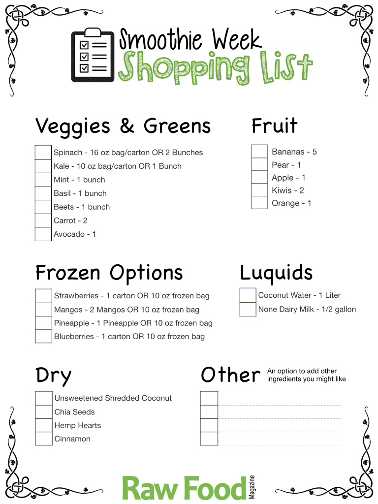 Your Smoothie Week Shopping List