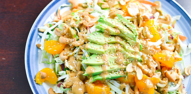 Crunchy Asian Salad With Creamy Peanut Dressing