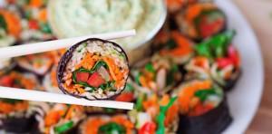 Zucchini Rice Sushi with Mango Ginger Sesame Sauce FTR