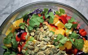 Rainbow Slaw With Kake and Pumpkin Seeds FTR
