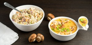 cole slaw and red bell pepper miso soup