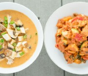 Red Bell Pepper Miso Soup & BBQ Veggies