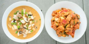 red bell pepper miso soup and bbq veggies
