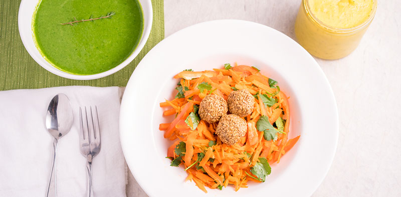 Carrot Walnut Crunch Salad & Zucchini Spinach Soup