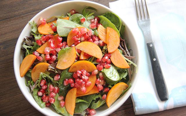 Pomegranate Persimmon Salad With Maple Vinaigrette