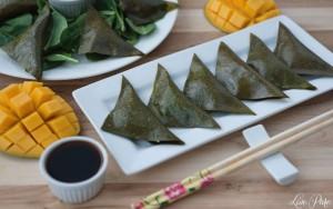 Spinach and Mushroom Mango Fruit Leather Dumplings