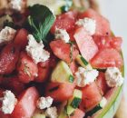 Watermelon, Cucumber & Almond Feta Salad