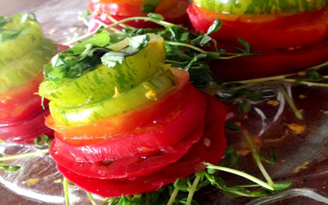 Rainbow Tomato Stacks