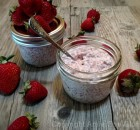 Strawberry Rhubarb Coconut Chia Pudding
