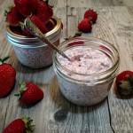 Strawberry Rhubarb Coconut Chia Pudding