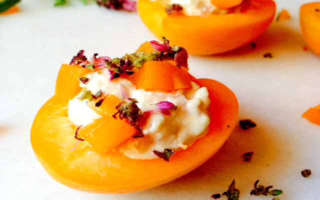 Lavender Nut Chevre Stuffed Apricots