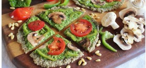 Raw Spinach Veggie Pizza with Pesto