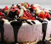 Strawberry Cashew Cream Cake With Carob Drizzle