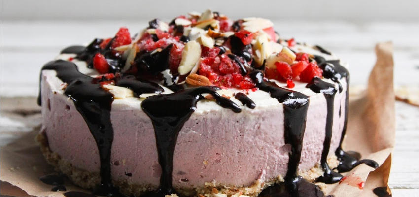 Cashew Strawberry Cream Cake with Carob Drizzle Lrg