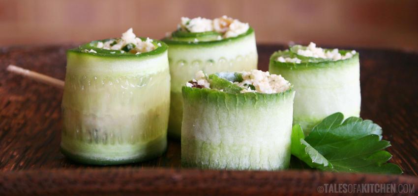 Cauliflower Cous Cous Cucumber Rolls Lrg