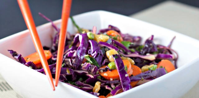 Moroccan Mint Red Cabbage Slaw With Hemp Seeds
