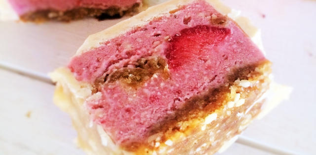 Raw Strawberry Cheesecake Ice Cream Bars