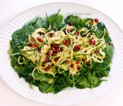 Pomegranate Zucchini Pasta with Persimmon Ginger Dressing