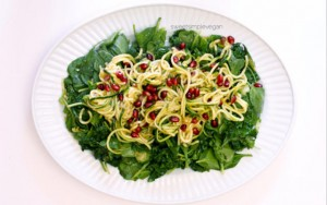 Pomegranate Zucchini Noodles with Persimmon Dressing