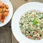 bbq veggies and tabouli salad