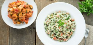 bbq veggies and tabouli salad
