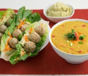 Romaine Falafel Wrap & Curry Soup