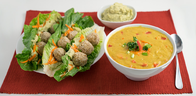 Romaine Falafel Wrap & Curry Soup