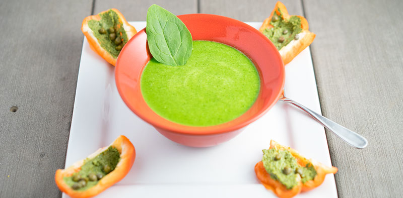 Pesto Bell Peppers & Zucchini Spinach Soup