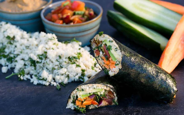 Raw Vegan Nori Rolls With Salsa