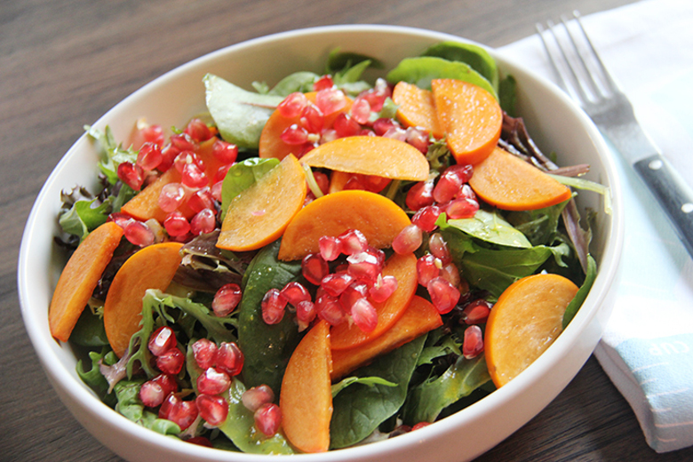 Raw Food Magazine – Pomegranate Persimmon Salad With Maple ...