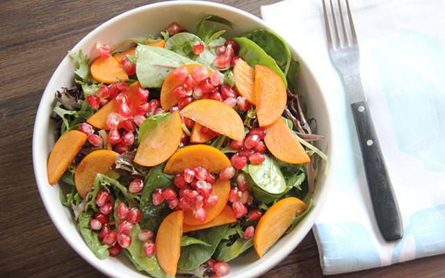 Pomegranate Persimmon Salad With Maple Vinaigrette