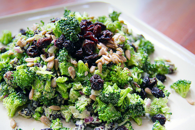 Broccoli Raisin Salad w/ Sunflower Dressing