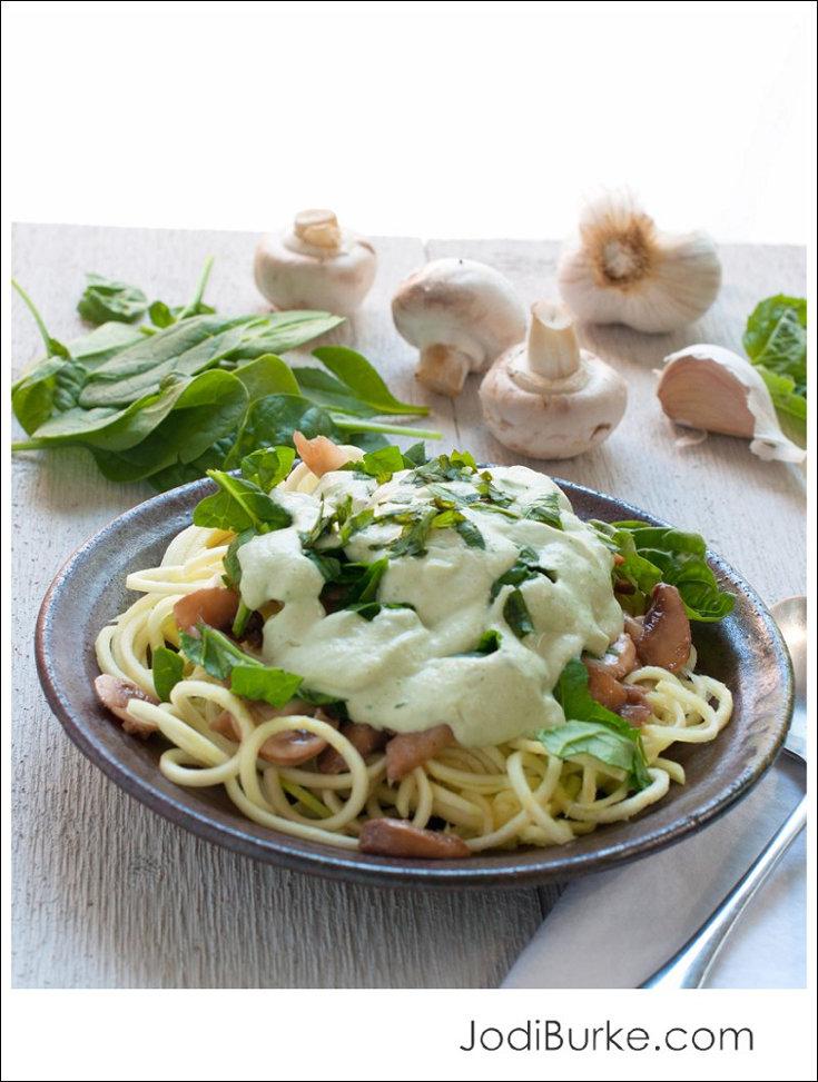 Spinach Musrhoom Spaghetti