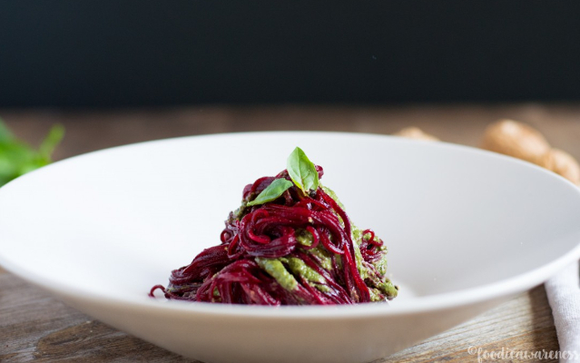 Beetroot Spaghetti With Walnut Pesto