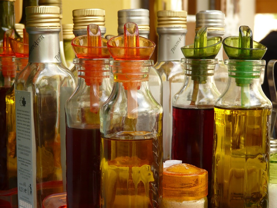 vinegars and other raw condiments on bottles