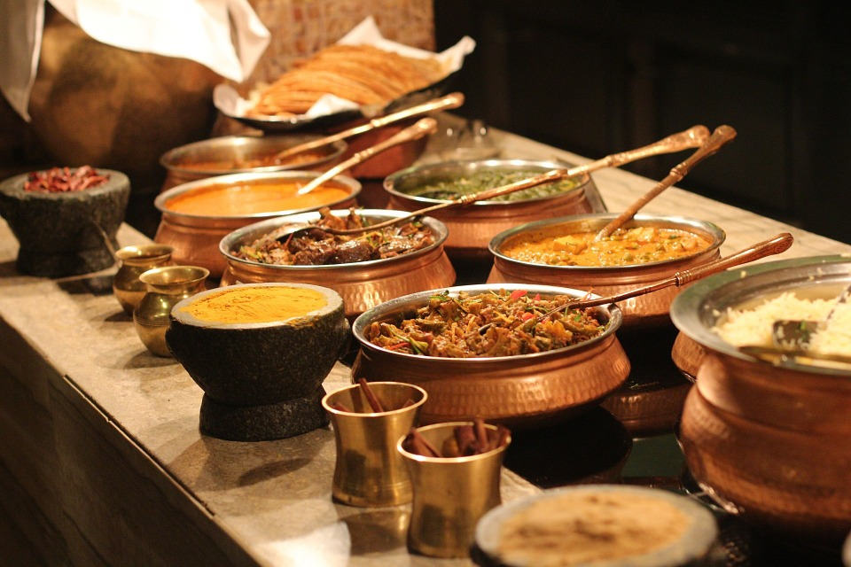 different cooked food presented on the table