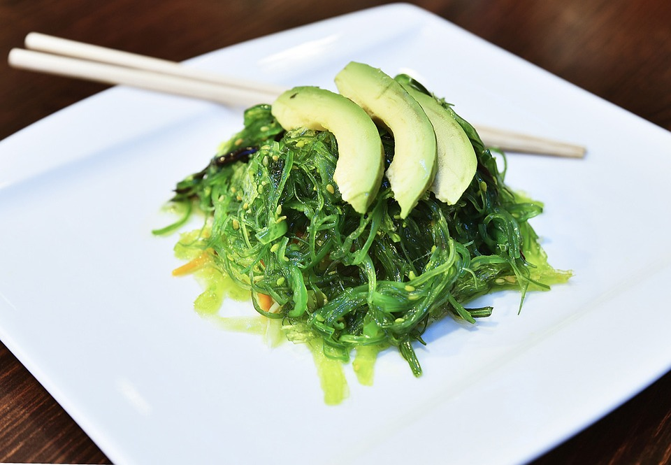 seaweed salad on a plate is both nutritious and delicious