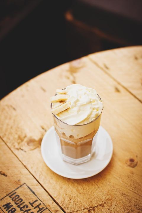 a delicious glass of banana ice cream for dessert