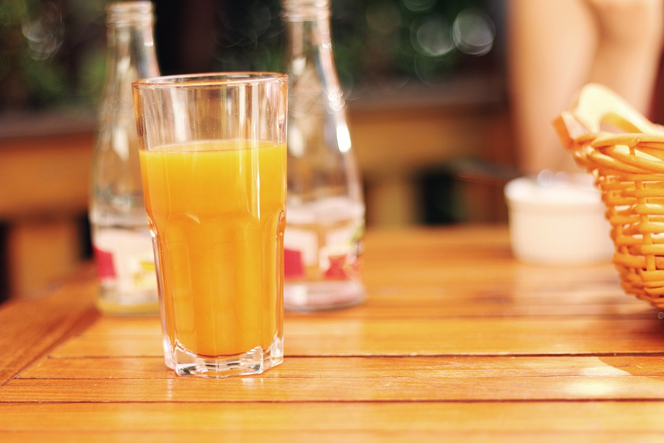 a glass of pasteurized ready to drink juice