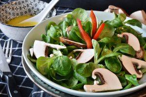 vegan meal consisting of lettuce, mushrooms and beaten eggs