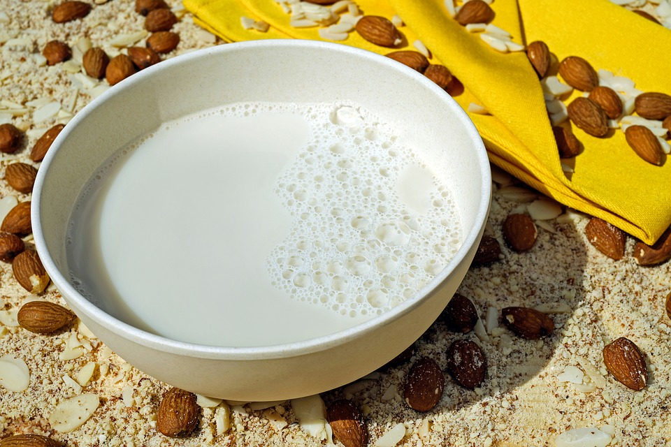 nut milk on a bowl for a healthy breakfast
