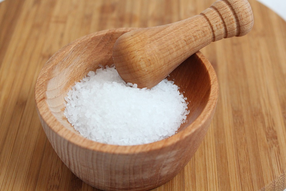 grounded salt on mortar and pestle