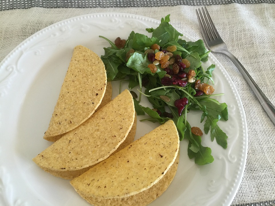 a yummy vegetable taco meal on a plate