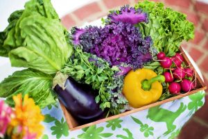raw and fresh vegetables in the basket