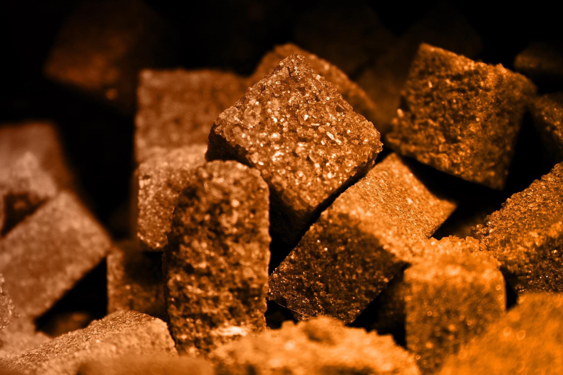 Brown sugar in cubes
